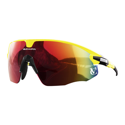 Missile customisable sunglasses with yellow frame, red lens and black nose piece | VeloChampion