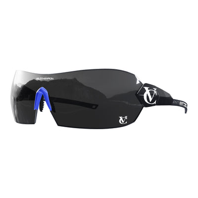 Hypersonic cycling glasses with black frame, black lens and blue nose piece  | VeloChampion