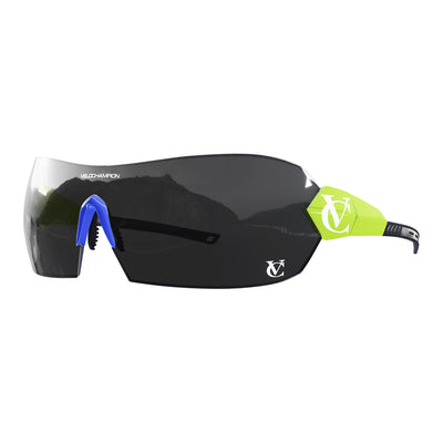 Hypersonic cycling glasses with lime green frame, black lens and blue nose piece | VeloChampion