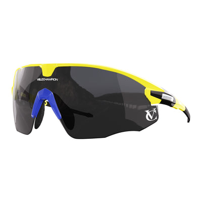 Missile customisable sunglasses with yellow frame, black lens and blue nose piece | VeloChampion
