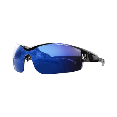 Customisable Vortex cycling glasses with black frame and blue lens | VeloChampion