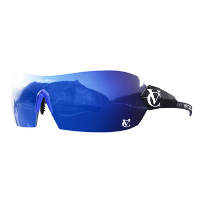 Hypersonic cycling glasses with black frame, blue lens and blue nose piece  | VeloChampion