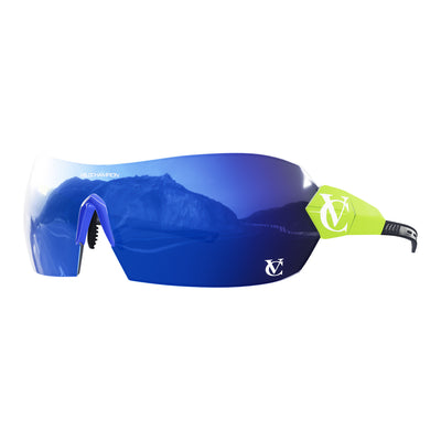 Hypersonic cycling glasses with lime green frame, blue lens and blue nose piece | VeloChampion