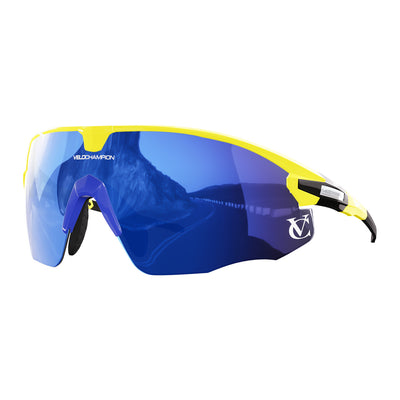 Missile customisable sunglasses with yellow frame, blue lens and blue nose piece | VeloChampion