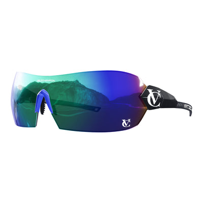 Hypersonic cycling glasses with black frame, green lens and blue nose piece | VeloChampion