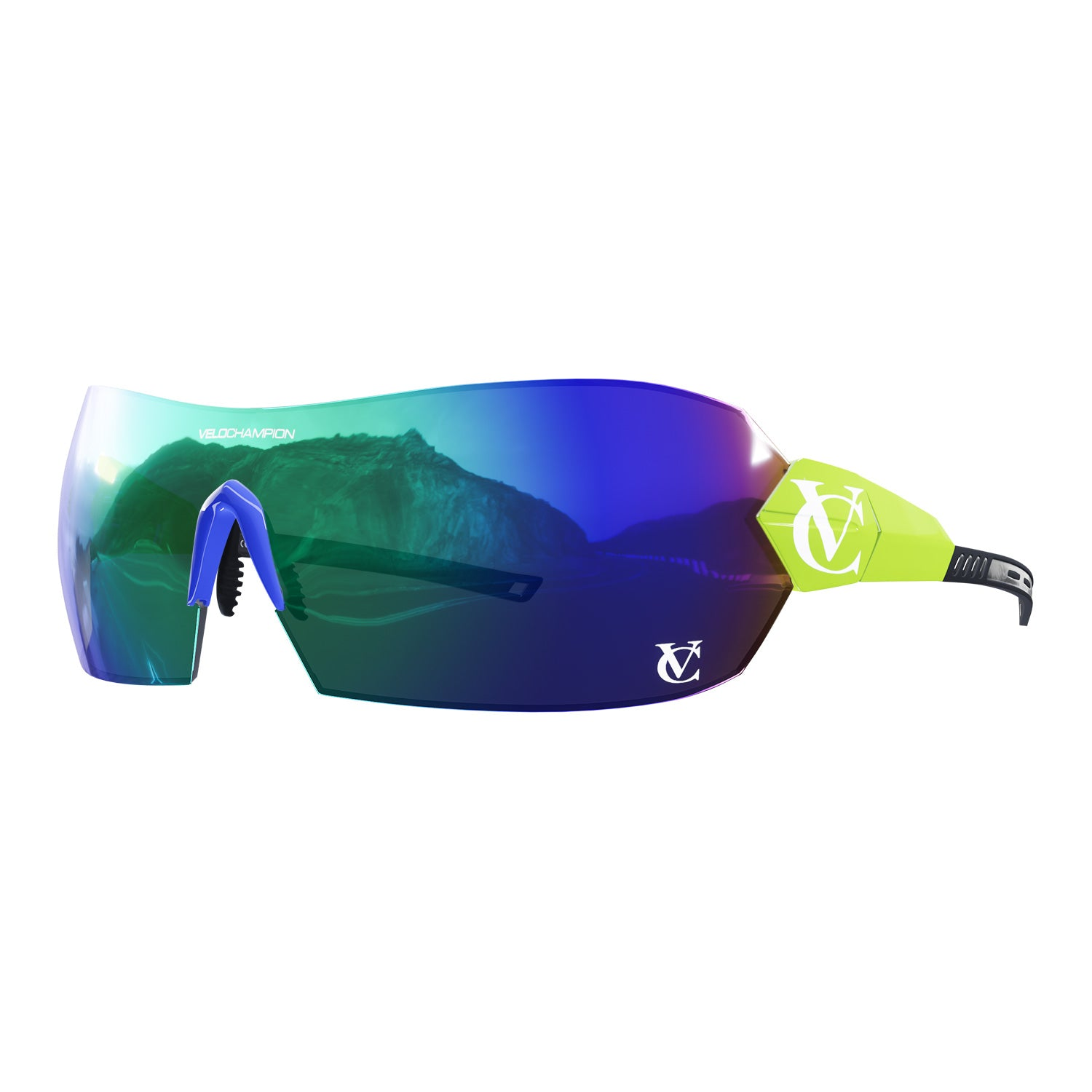 Hypersonic cycling glasses with lime green frame, green lens and blue nose piece | VeloChampion