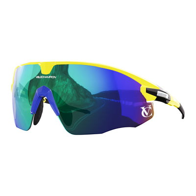 Missile customisable sunglasses with yellow frame, green lens and blue nose piece | VeloChampion