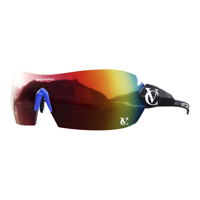 Hypersonic cycling glasses with black frame, red lens and blue nose piece | VeloChampion