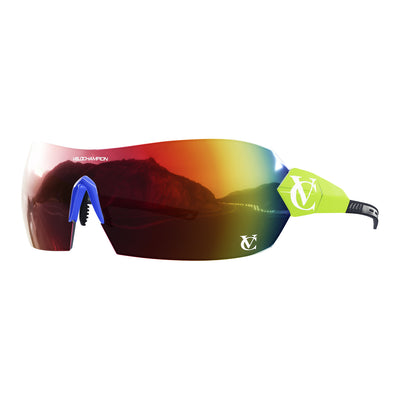 Hypersonic cycling glasses with lime green frame, red lens and blue nose piece | VeloChampion