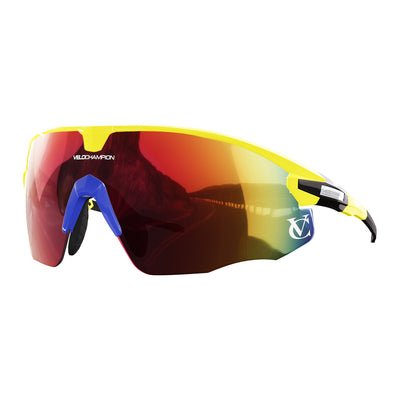 Missile customisable sunglasses with yellow frame, red lens and blue nose piece | VeloChampion