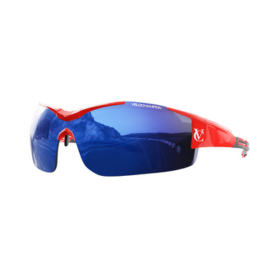 Customisable Vortex cycling glasses with red frame and blue lens | VeloChampion