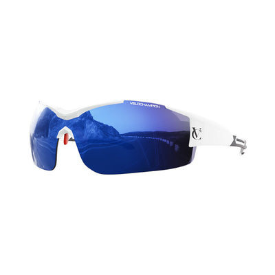Customisable Vortex cycling glasses with white frame and blue lens | VeloChampion
