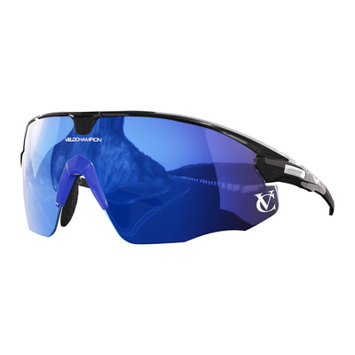 Missile customisable sunglasses with black frame, blue lens and blue nose piece | VeloChampion