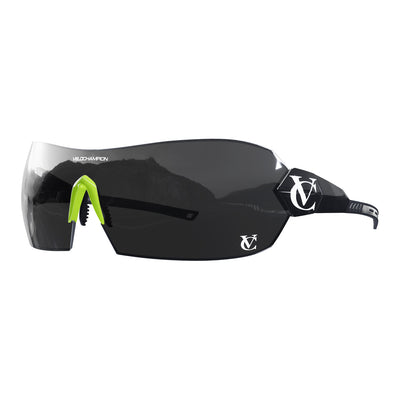 Hypersonic cycling glasses with black frame, black lens and green nose piece | VeloChampion