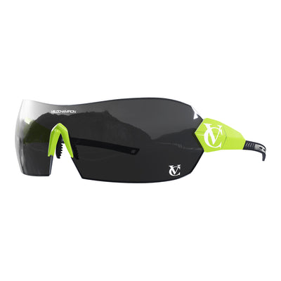 Hypersonic cycling glasses with lime green frame, black lens and green nose piece | VeloChampion