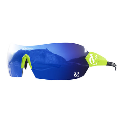 Hypersonic cycling glasses with lime green frame, blue lens and green nose piece | VeloChampion
