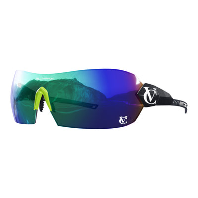 Hypersonic cycling glasses with black frame, green lens and green nose piece | VeloChampion