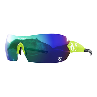 Hypersonic cycling glasses with lime green frame, green lens and green nose piece | VeloChampion