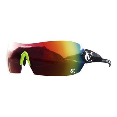 Hypersonic cycling glasses with black frame, red lens and green nose piece | VeloChampion