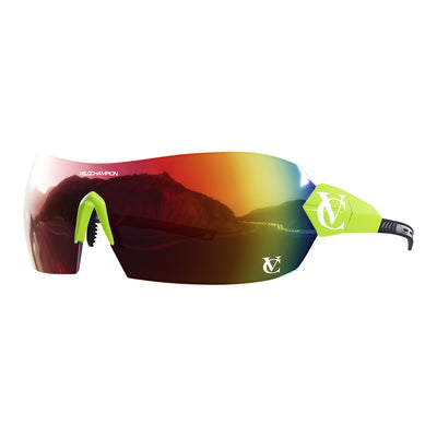 Hypersonic cycling glasses with lime green frame, red lens and green nose piece | VeloChampion