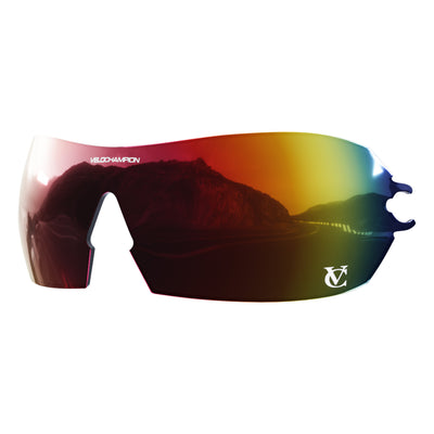 Customisable Hypersonic cycling sunglasses red revo lens | VeloChampion