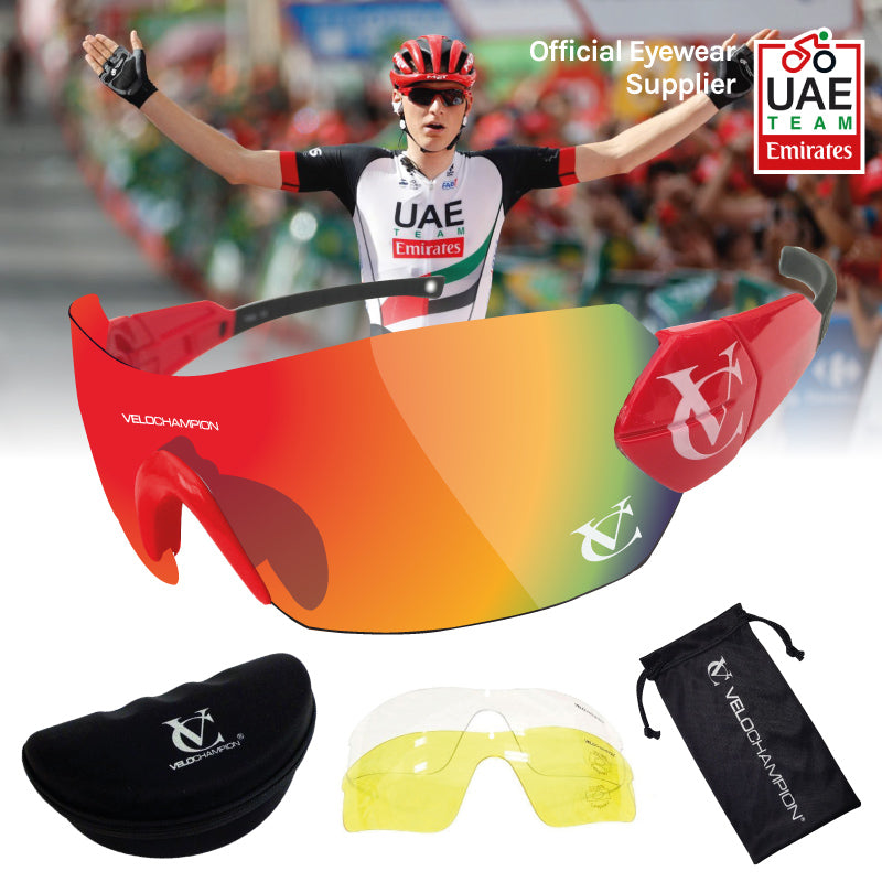 Customisable Hypersonic cycling sunglasses worn by Team UAE | VeloChampion