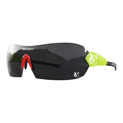 Hypersonic cycling glasses with lime green frame, black lens and red nose piece | VeloChampion