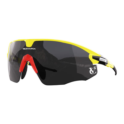 Missile customisable sunglasses with yellow frame, black lens and red nose piece | VeloChampion