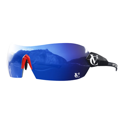 Hypersonic cycling glasses with black frame, blue lens and red nose piece | VeloChampion