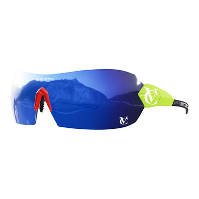Hypersonic cycling glasses with lime green frame, blue lens and red nose piece | VeloChampion