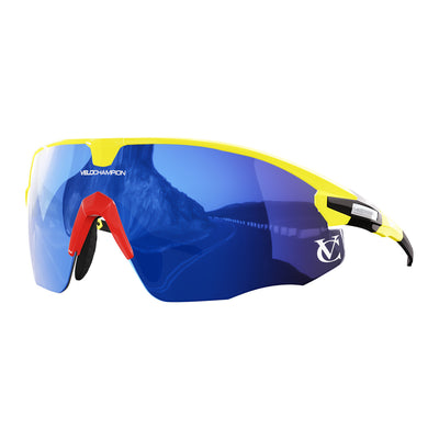 Missile customisable sunglasses with yellow frame, blue lens and red nose piece | VeloChampion
