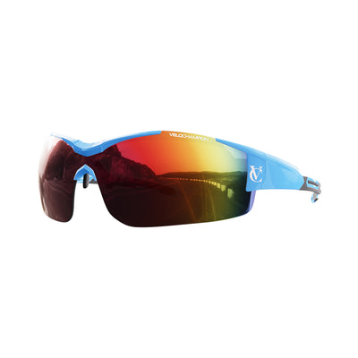Customisable Vortex cycling glasses with blue frame and red lens | VeloChampion