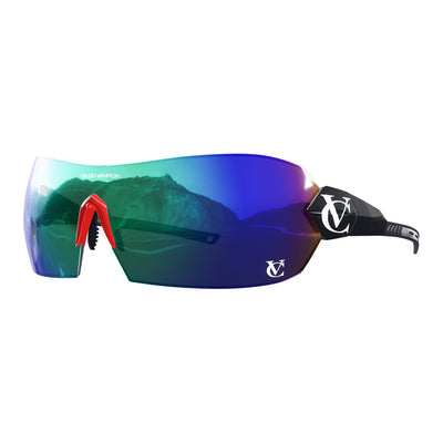 Hypersonic cycling glasses with black frame, green lens and red nose piece | VeloChampion