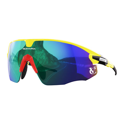 Missile customisable sunglasses with yellow frame, green lens and red nose piece | VeloChampion