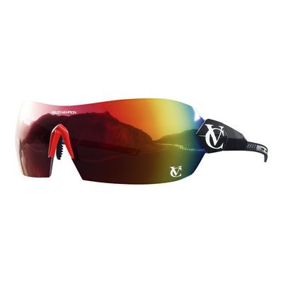 Hypersonic cycling glasses with black frame, red lens and red nose piece  | VeloChampion