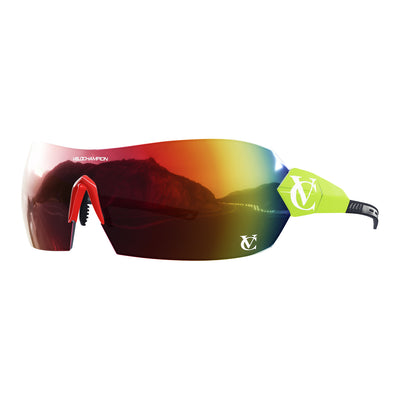 Hypersonic cycling glasses with lime green frame, red lens and red nose piece | VeloChampion