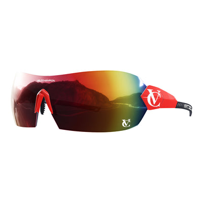 Customisable Hypersonic cycling sunglasses Team UAE | Red frame, lens and nose piece | VeloChampion