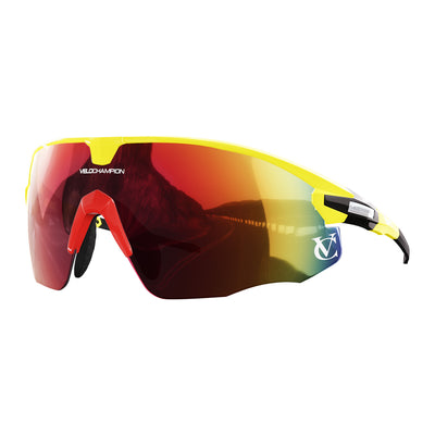 Missile customisable sunglasses with yellow frame, red lens and red nose piece | VeloChampion