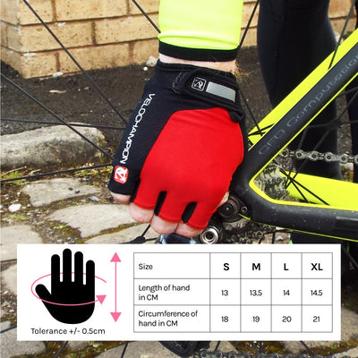 VeloChampion Summer Cycling Race Gloves - in Black, Blue, Red or Fluoro Yellow - Velochampion