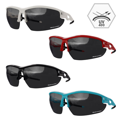 Tornado fixed frame cycling and running sunglasses available in four colours | VeloChampion