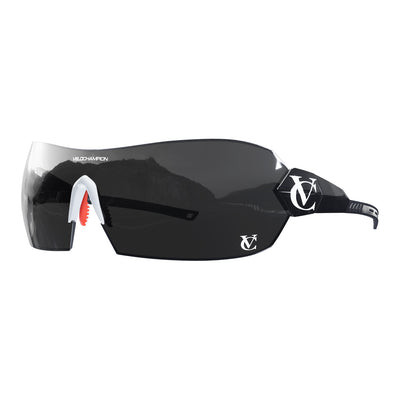 Hypersonic cycling glasses with black frame, black lens and white nose piece | VeloChampion