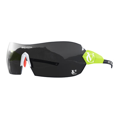 Hypersonic cycling glasses with lime green frame, black lens and white nose piece | VeloChampion