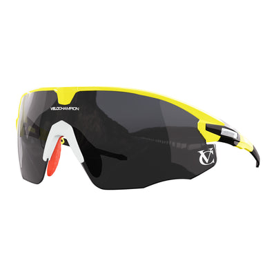Missile customisable sunglasses with yellow frame, black lens and white nose piece | VeloChampion