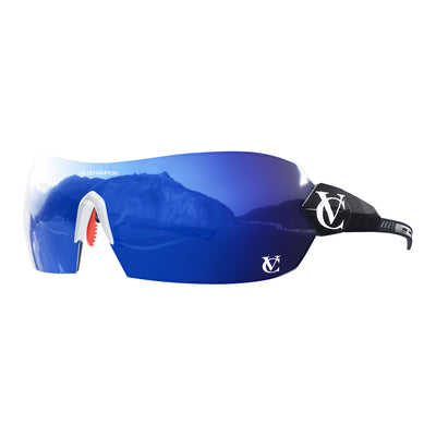 Hypersonic cycling glasses with black frame, blue lens and white nose piece | VeloChampion