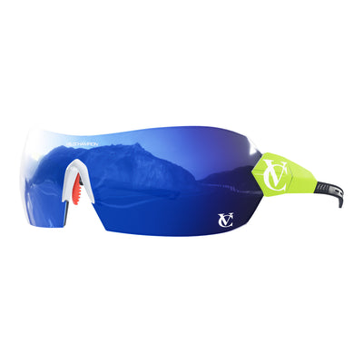 Hypersonic cycling glasses with lime green frame, blue lens and white nose piece | VeloChampion