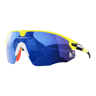 Missile customisable sunglasses with yellow frame, blue lens and white nose piece | VeloChampion