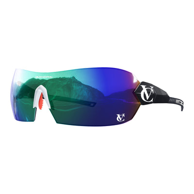 Hypersonic cycling glasses with black frame, green lens and white nose piece | VeloChampion