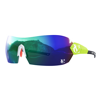 Hypersonic cycling glasses with lime green frame, green lens and white nose piece | VeloChampion