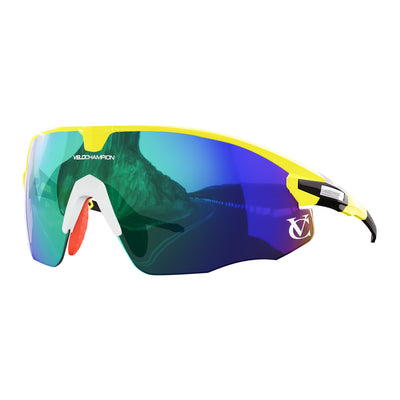 Missile customisable sunglasses with yellow frame, green lens and white nose piece | VeloChampion