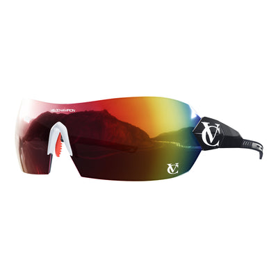 Hypersonic cycling glasses with black frame, red lens and white nose piece | VeloChampion